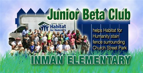 Jr. Beta Club at Inman helps Habitat for Humanity and the Church Street Park