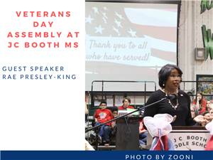 Veterans Day Assembly with Rae Preseley-King