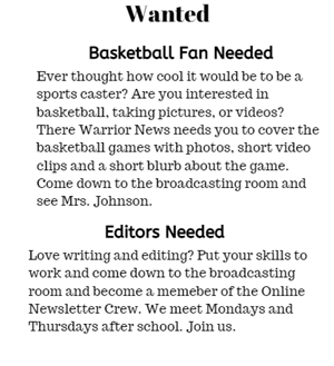 Wanted Editors and Sports Anchors
