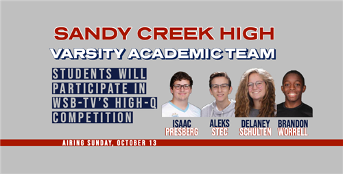 More 5 of 5,970   Collapse all Print all In new window Sandy Creek High's Academic Team Make Their Television Debut