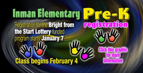 Pre-K Class to Begin at Inman Elementary in February, Registration Starts Now