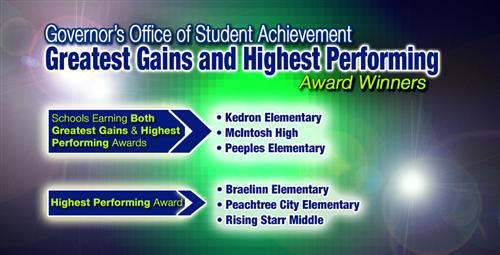 Schools Earn Highest Performing and Greatest Gains Awards from Governor's Office
